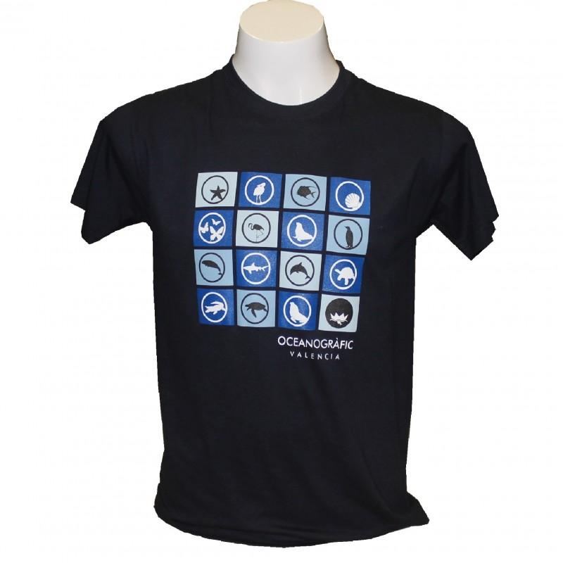 Camiseta Adulto Iconos Oceanogràfic Azul