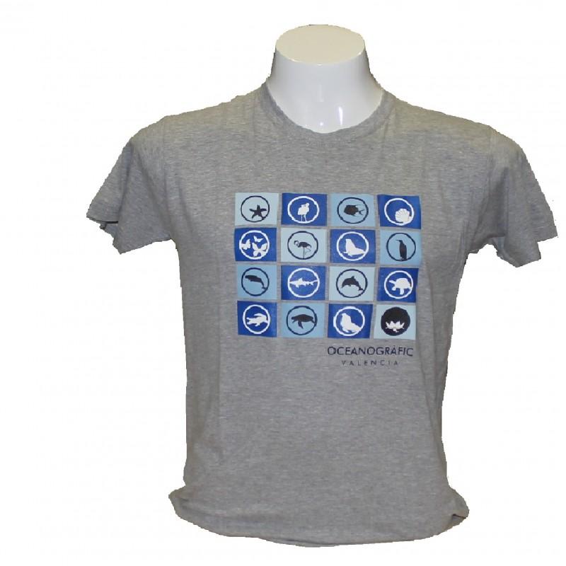 Camiseta Adulto Iconos Oceanogràfic Gris