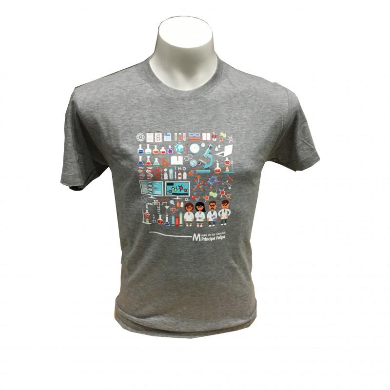 Camiseta Adulto Laboratorio Museo Gris