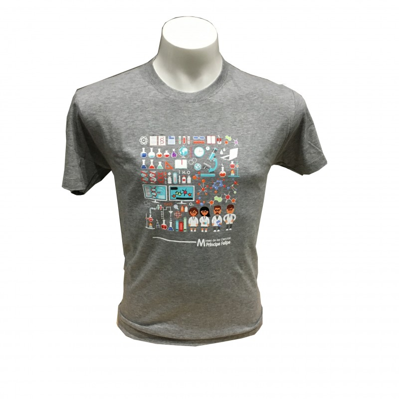 Camiseta Adulto Laboratorio Museo Gris