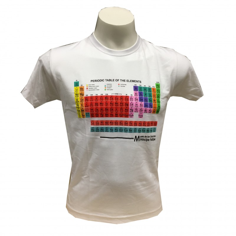 Camiseta Adulto Tabla Periódica Blanco