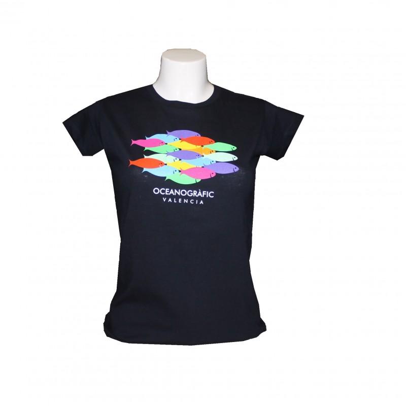 Camiseta Mujer Peces Oceanogràfic Azul