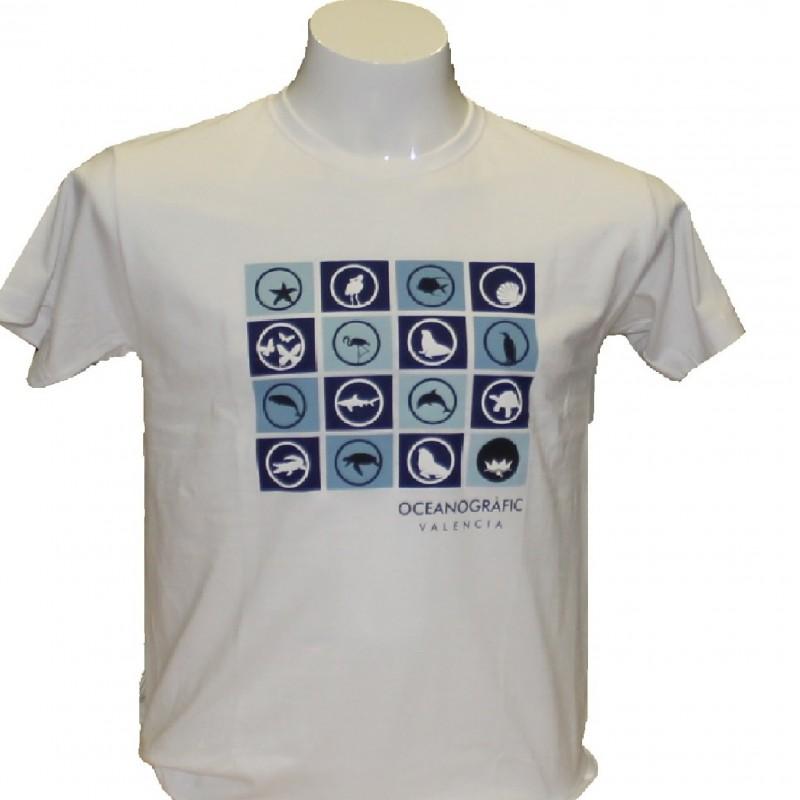 Camiseta Adulto Iconos Oceanogràfic Blanco