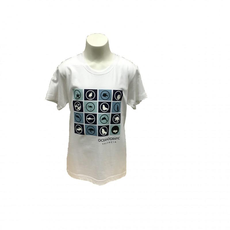 Camiseta Infantil Iconos Oceanogràfic Blanco