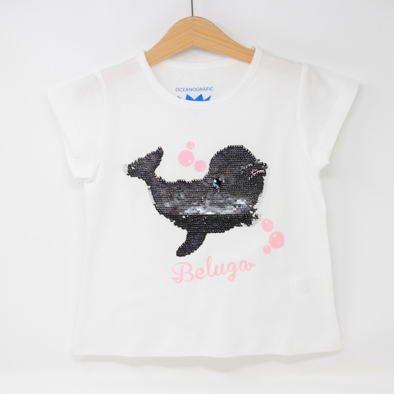 Camiseta Infantil Beluga Lentejuelas Blanca