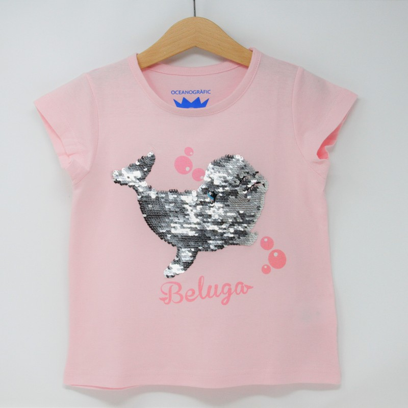 Camiseta Infantil Beluga Lentejuelas Rosa