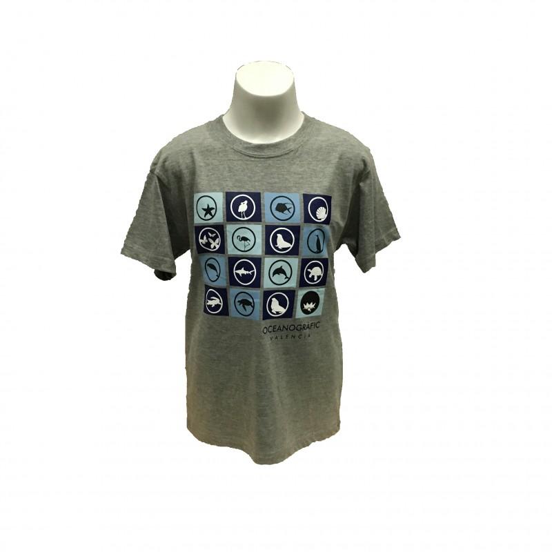 Camiseta Infantil Iconos Oceanogràfic Gris