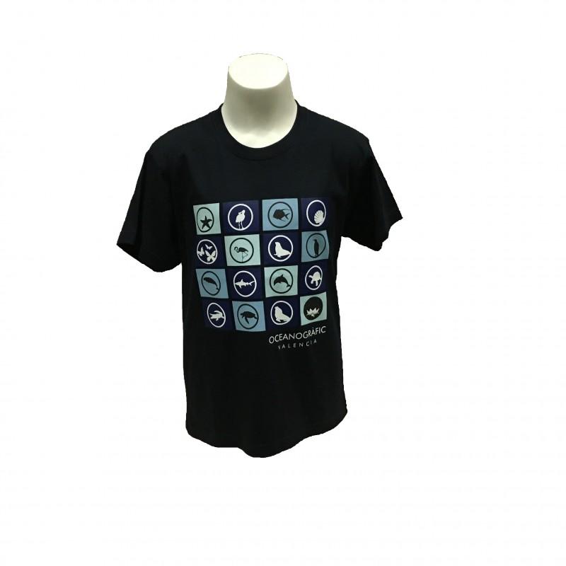 Camiseta Infantil Iconos Oceanogràfic Azul