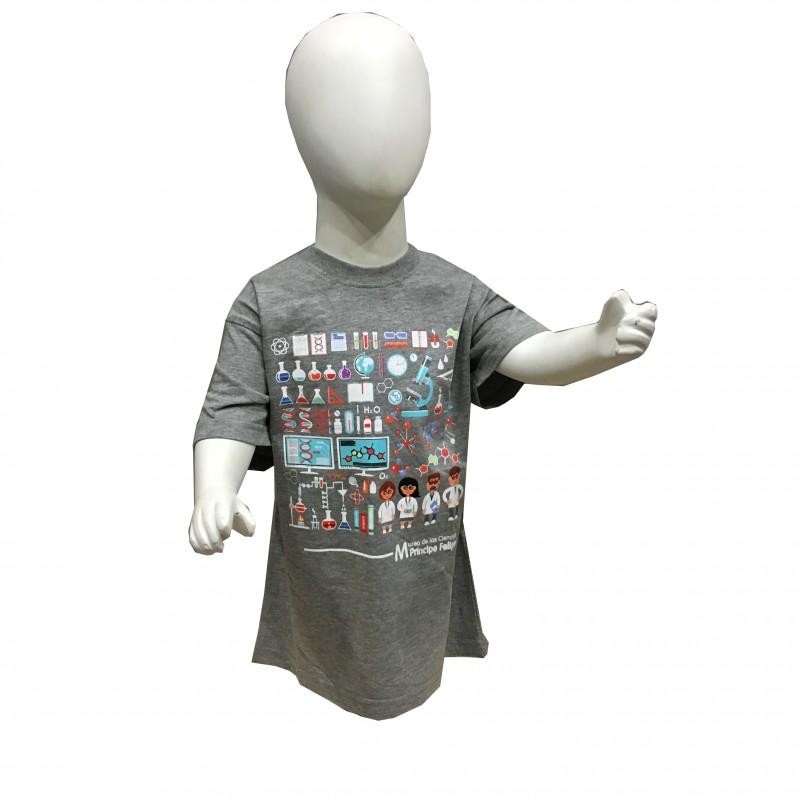 Camiseta Infantil Laboratorio Museo Gris