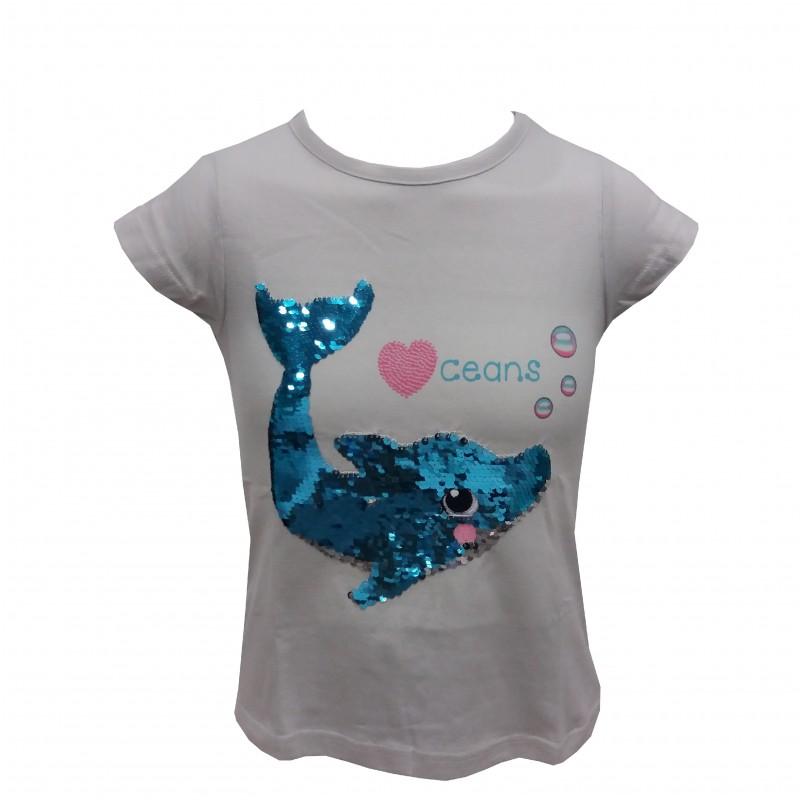 Camiseta Infantil Lentejuelas Delfín