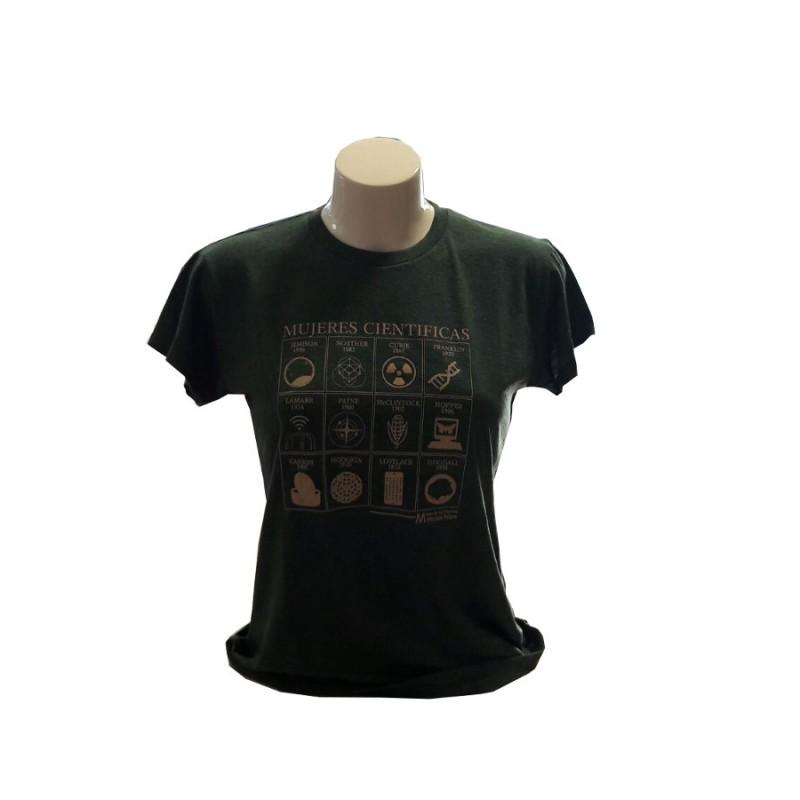 Camiseta Mujer Mujeres Científicas Verde