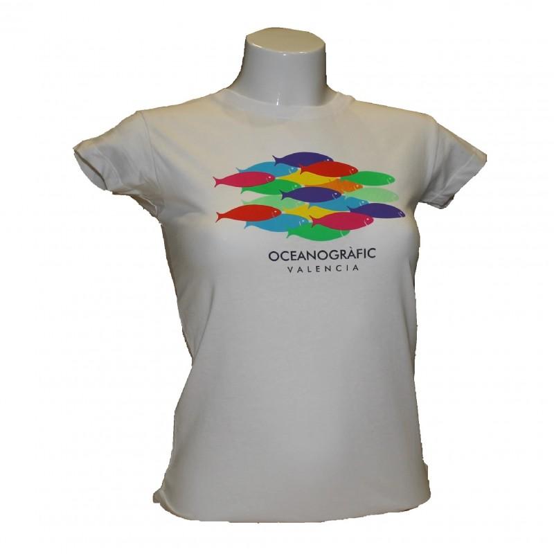 Camiseta Mujer Peces Oceanogràfic Blanco