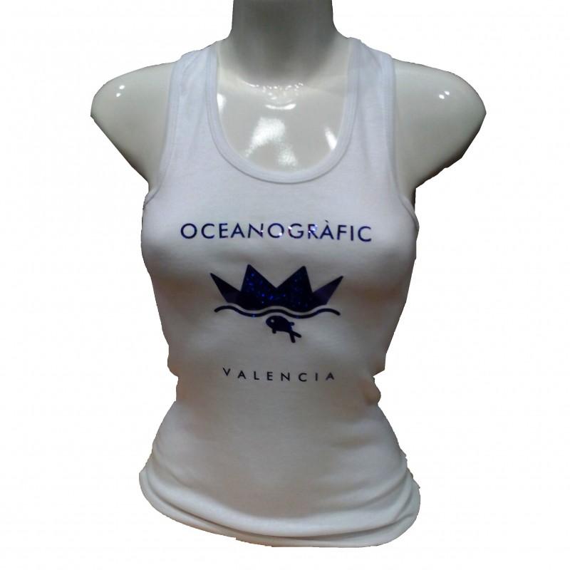 Camiseta Tirantes Mujer Blanca Oceanogràfic