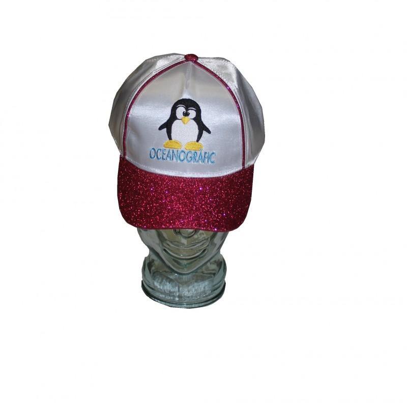 Gorra Infantil Pingüino Blanca Brillante
