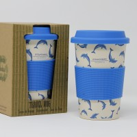 Mug Viaje Bambú Delfín Azul