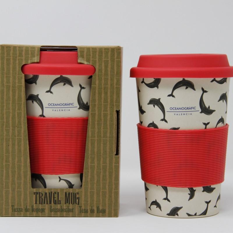 Mug Viaje Bambú Delfín Rosa