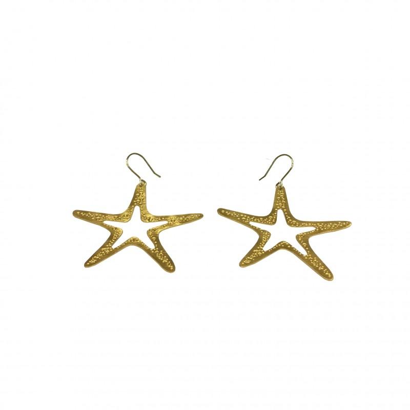 Pendiente Estrella Oro Gancho