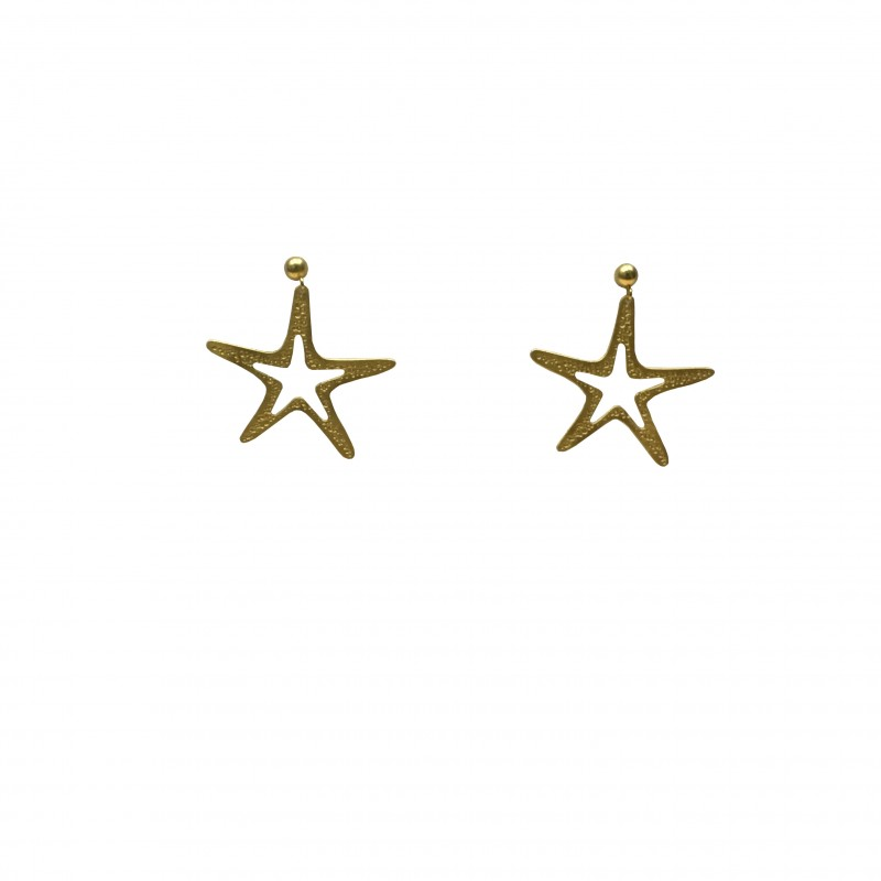 Pendiente Estrella Oro Tuerca