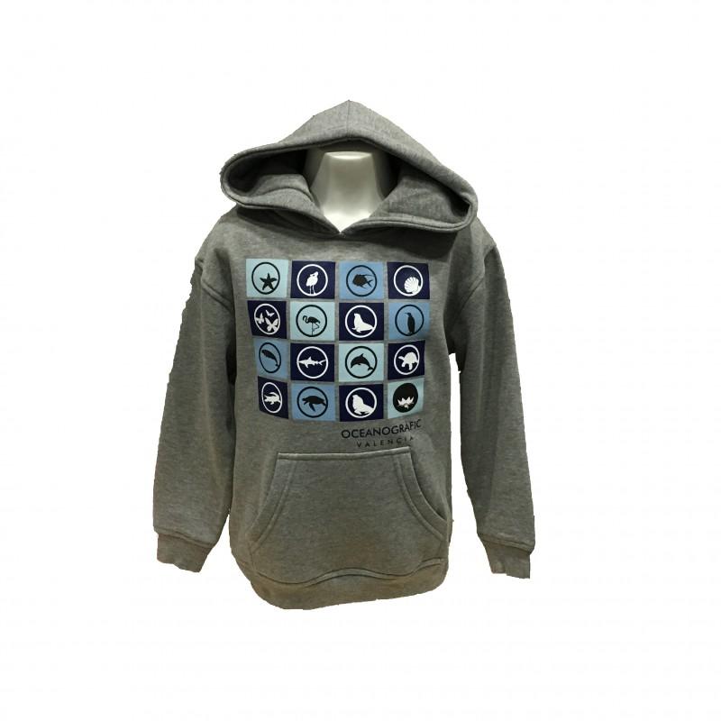 Sudadera Infantil capucha Iconos Oceanogràfic gris